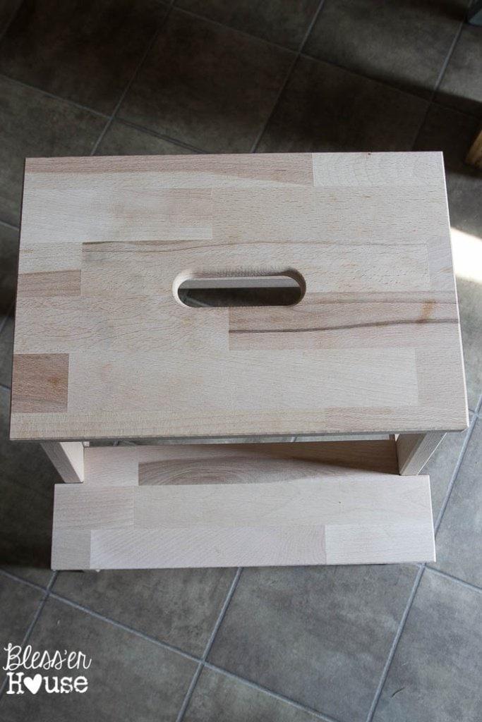 Driftwood Grain Sack Stool Makeover | Bless'er House
