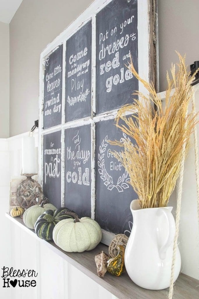 Fall Chalkboard and Shelf Vignette | Bless'er House - Cute way to create changeable art out of an old window, a wood plank, and rope!