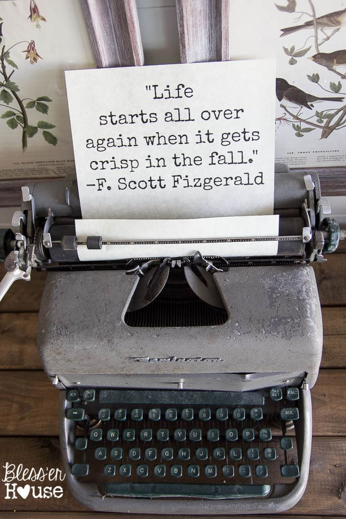 Vintage Typewriter Free Printable How To Decorate For Fall On A Budget Blesserhouse