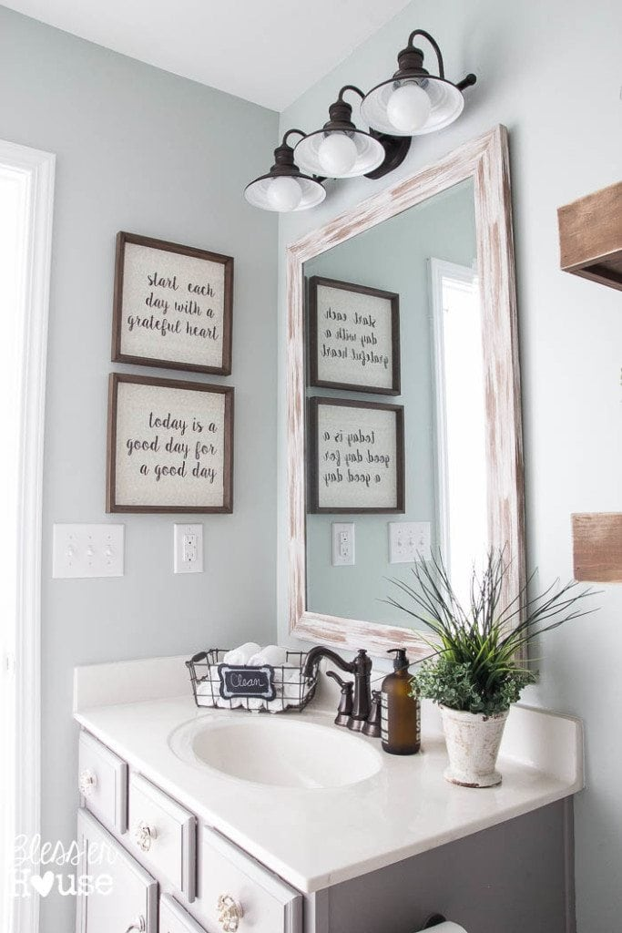 Modern Farmhouse Bathroom Makeover | Bless'er House - So many great ideas to create charm in a builder grade bathroom!