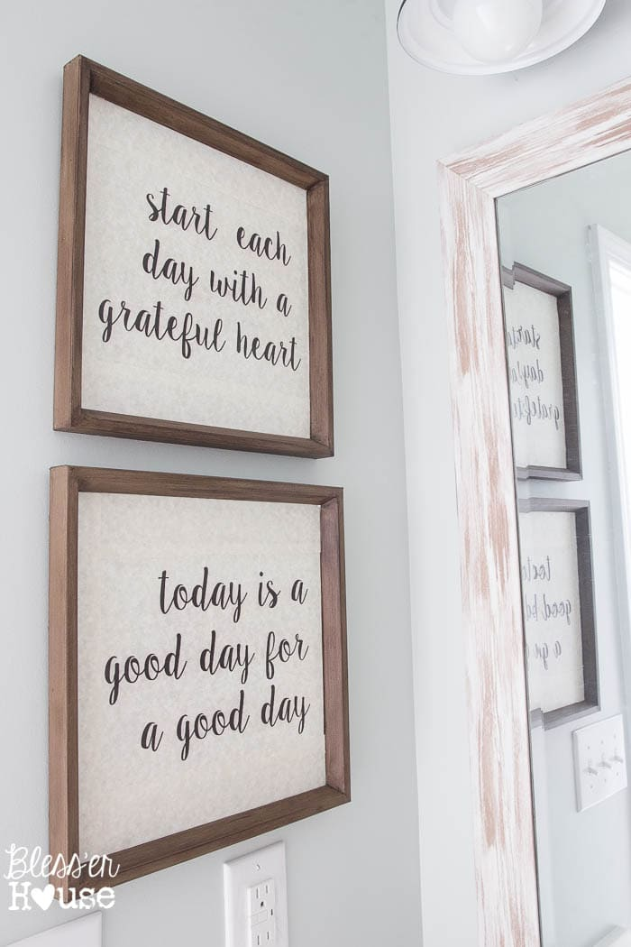 Modern farmhouse bathroom makeover reveal for Bathroom wall decor quotes