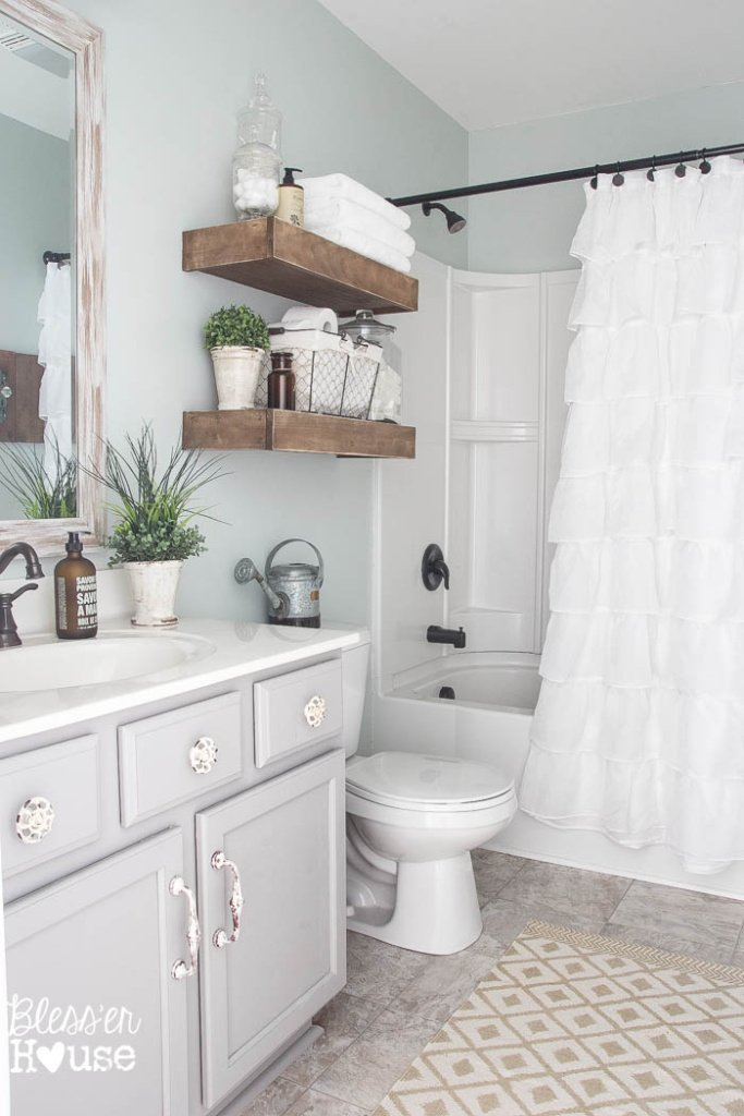 Modern farmhouse bathroom makeover reveal for Bathroom decor colors