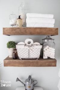 Rustic Wood Floating Shelves