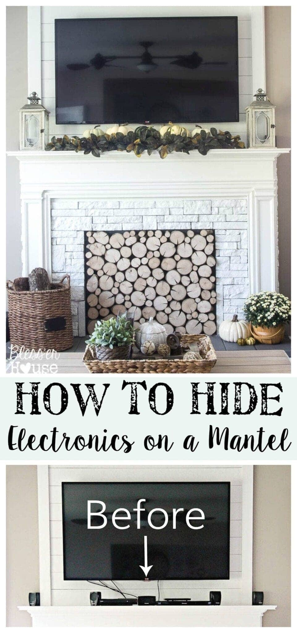 How to hide electronics on a mantel Hide fireplace ideas