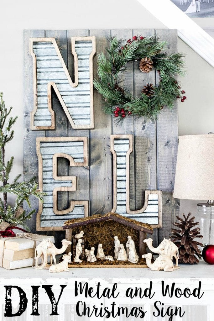 DIY Metal and Wood Christmas Sign | blesserhouse.com