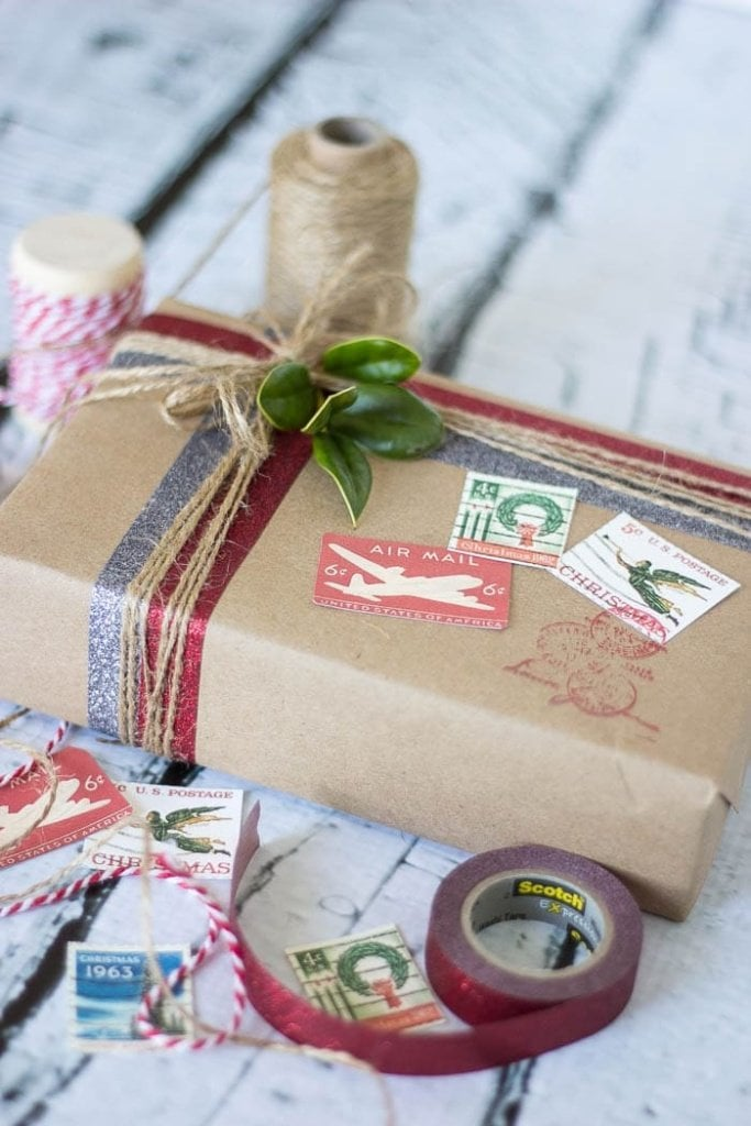 DIY Vintage Postal Gift Wrap | blesserhouse.com #craftamazing #ad