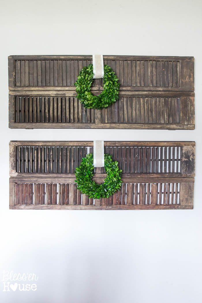 Wall Decor Using Pictures : Thrifty shutter wall decor