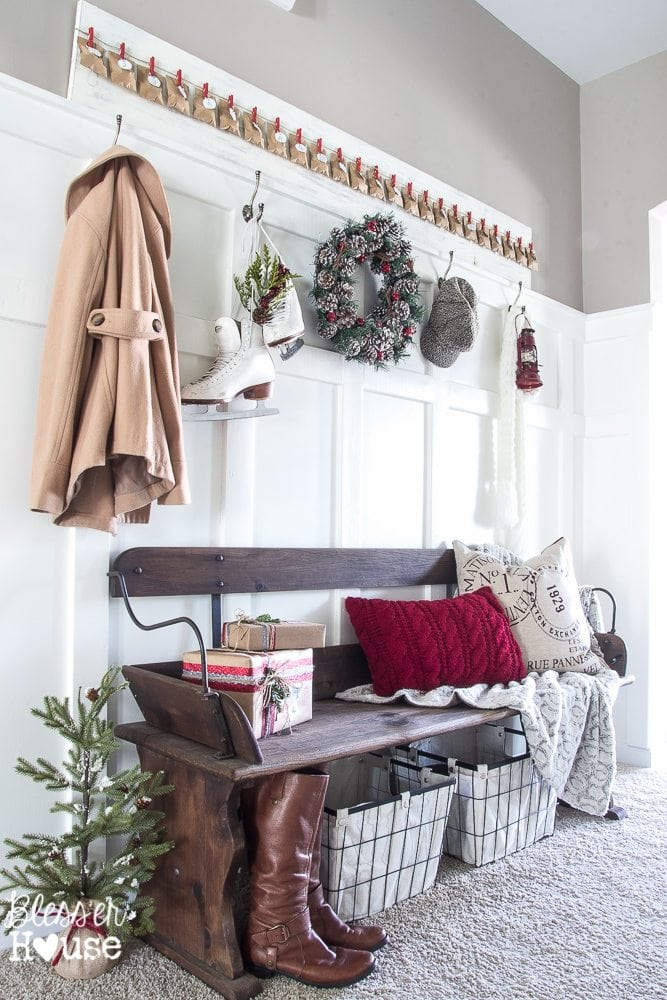 Woodland Christmas Home Tour 2015 Part 1 | blesserhouse.com | entryway, wagon bench, advent calendar