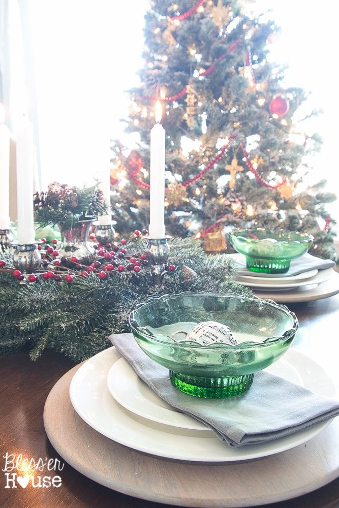 Woodland Christmas Home Tour 2015 Part 1 | blesserhouse.com | Depression glass tablescape