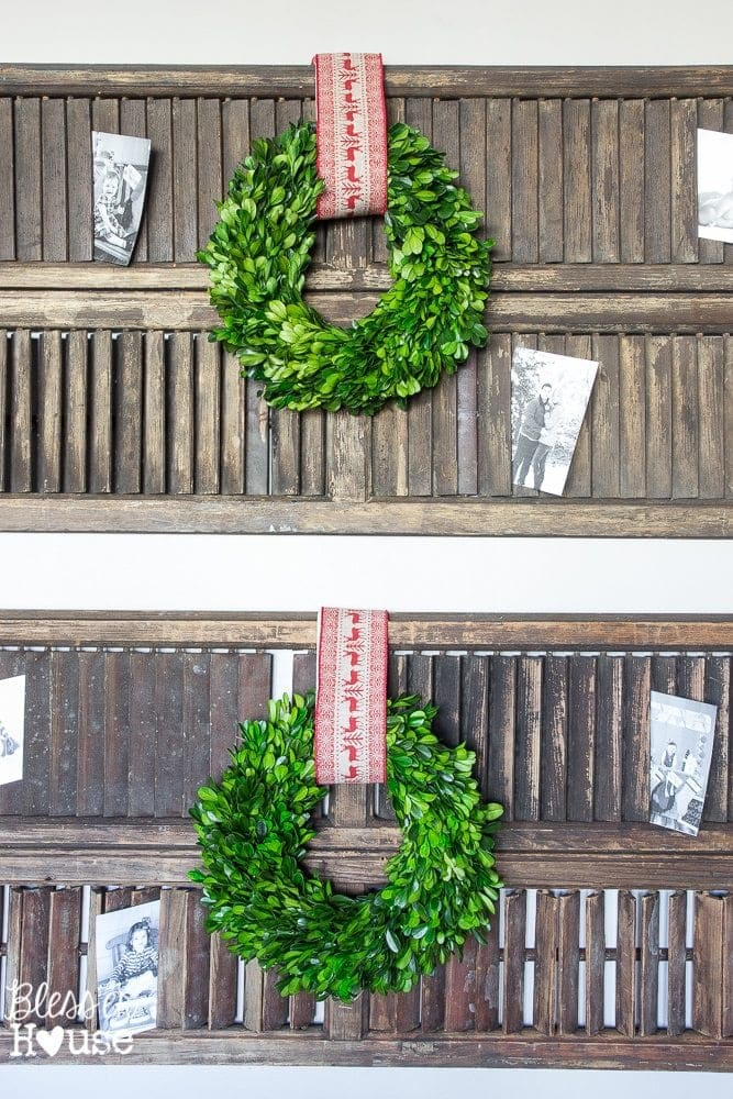 Woodland Christmas Home Tour 2015 Part 1 | blesserhouse.com | boxwood wreath and shutters