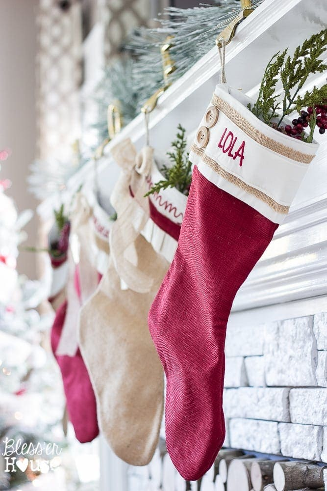 Woodland Christmas Home Tour 2015 Part 1 | blesserhouse.com | burlap stockings