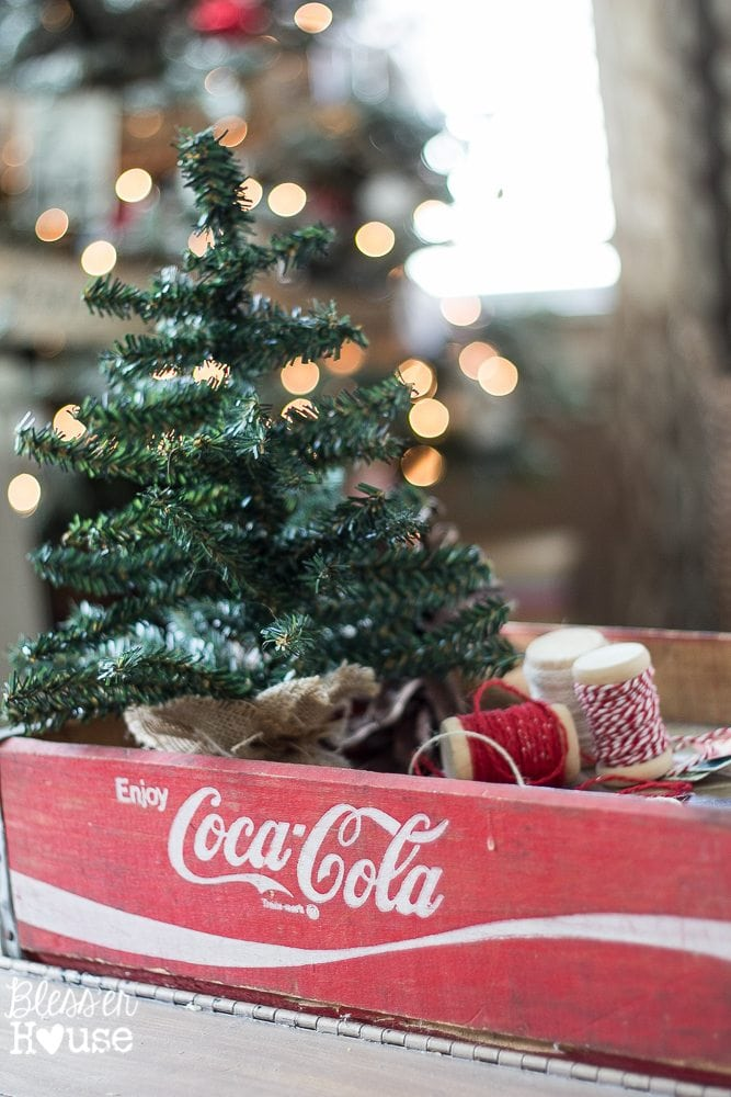 Woodland Christmas Home Tour 2015 Part 1 | blesserhouse.com | Coca-Cola crate tray