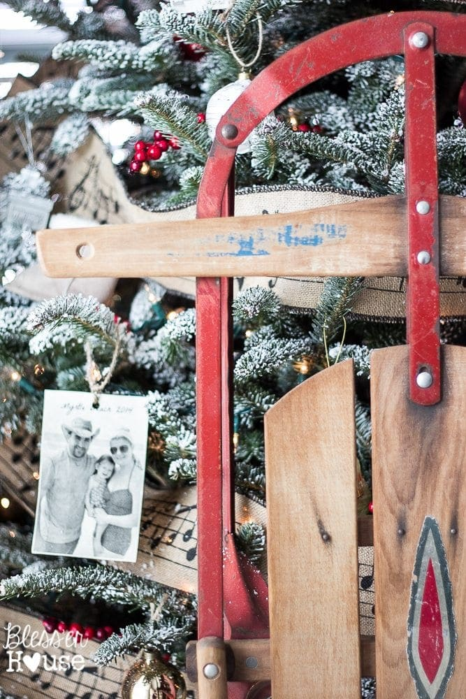 Woodland Christmas Home Tour 2015 Part 1 | blesserhouse.com | antique sled