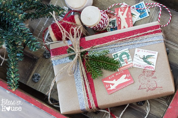 Woodland Christmas Home Tour 2015 Part 1 | blesserhouse.com | vintage postal giftwrap
