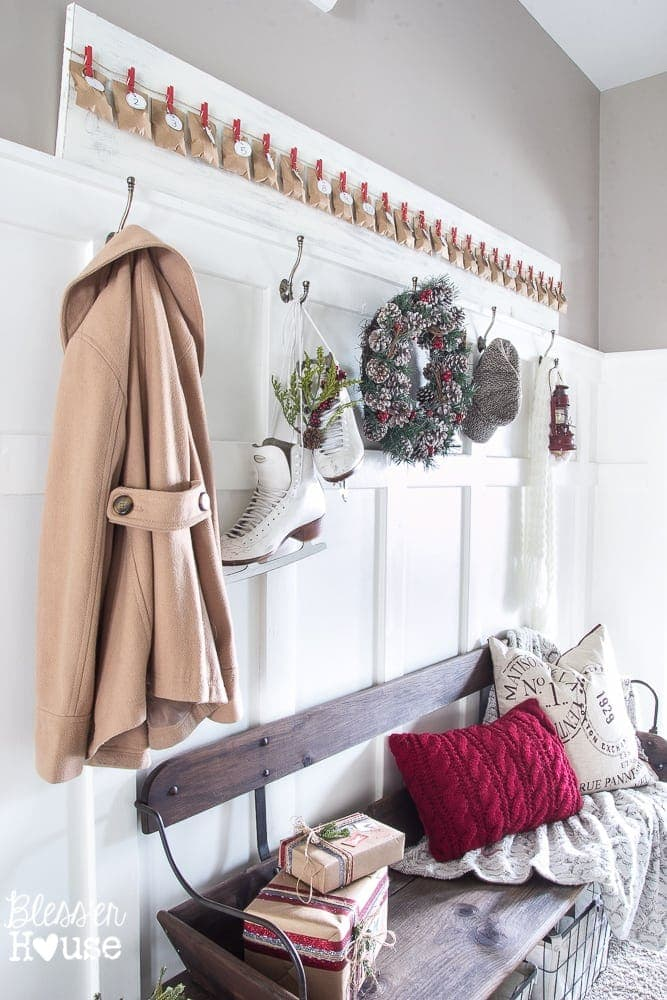 Christmas Home Tour 2015 Part 2 | blesserhouse.com | entryway with wagon bench