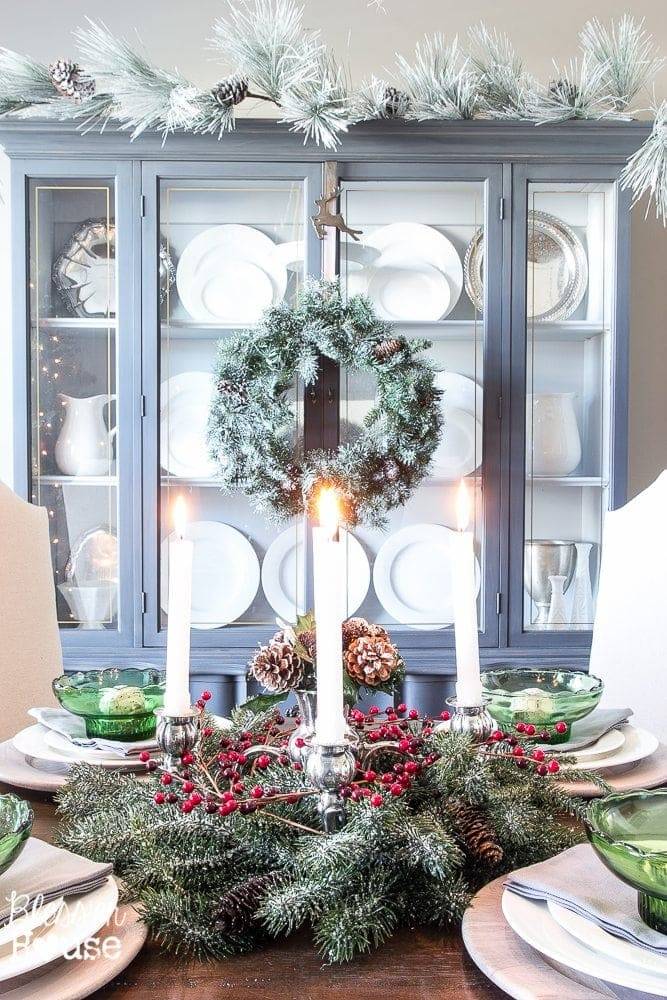 Woodland Christmas Home Tour 2015 Part 1 | blesserhouse.com | St. Lucia's Day inspired centerpiece