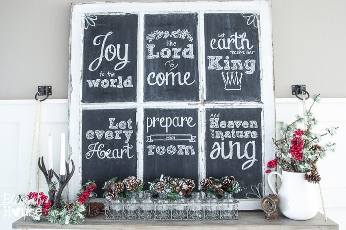 Woodland Christmas Home Tour 2015 Part 1 | blesserhouse.com | window chalkboard