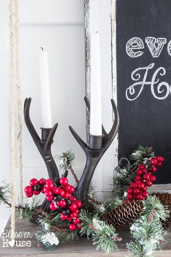 Woodland Christmas Home Tour 2015 Part 1 | blesserhouse.com | antler candleholders