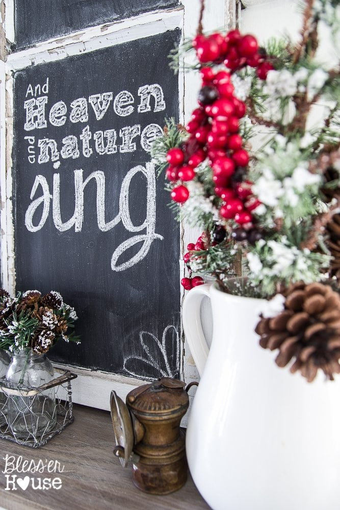 Woodland Christmas Home Tour 2015 Part 1 | blesserhouse.com | Joy to the World chalkboard