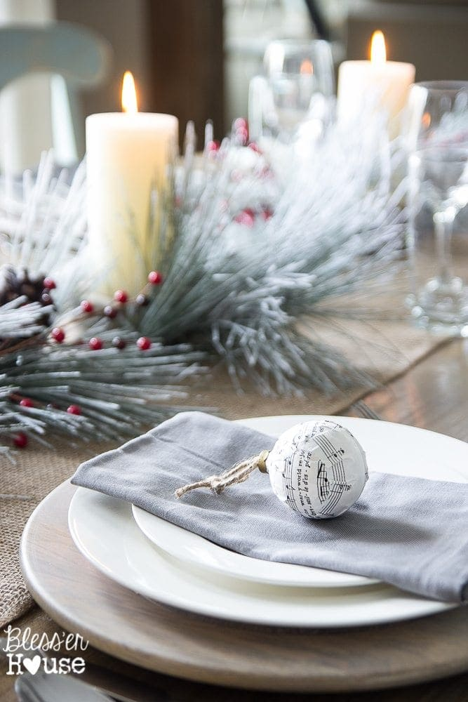 Woodland Christmas Home Tour 2015 Part 1 | blesserhouse.com | tablescape with sheet music ornament