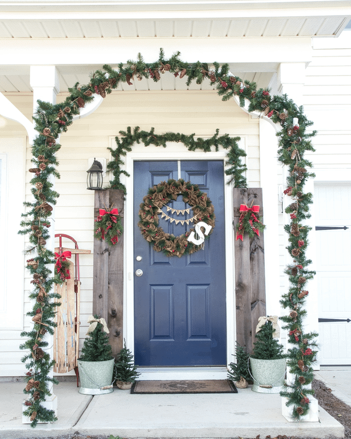 Suburban Rustic Christmas Front Porch