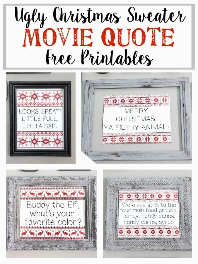 Ugly Christmas Sweater Movie Quote Printables | blesserhouse.com - These are so cute!