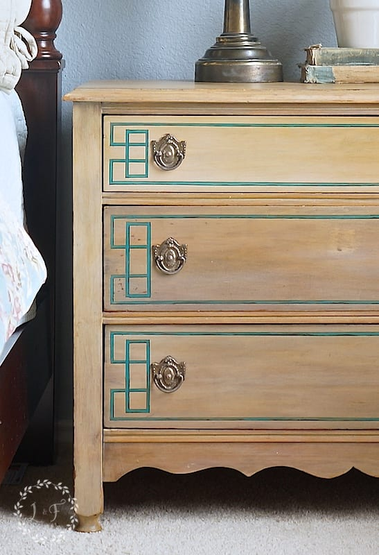 Geometric Dresser Makeover | Lost and Found Decor at blesserhouse.com
