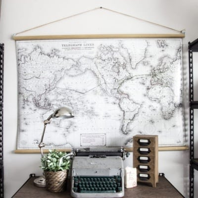 DIY Vintage Pull-Down Map