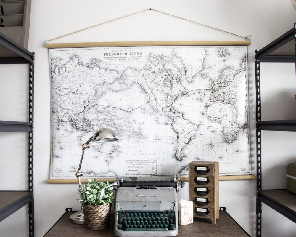DIY Vintage PullDown Map Blesser House - Cheap vintage maps