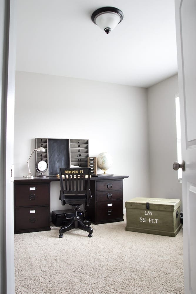 Industrial Military Office Reveal | Blesserhouse.com   An Masculine Office  Makeover Using Lots Of