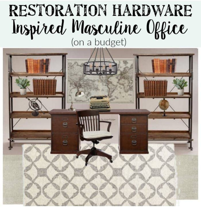 Masculine Restoration Hardware Inspired Office (on a budget) | blesserhouse.com
