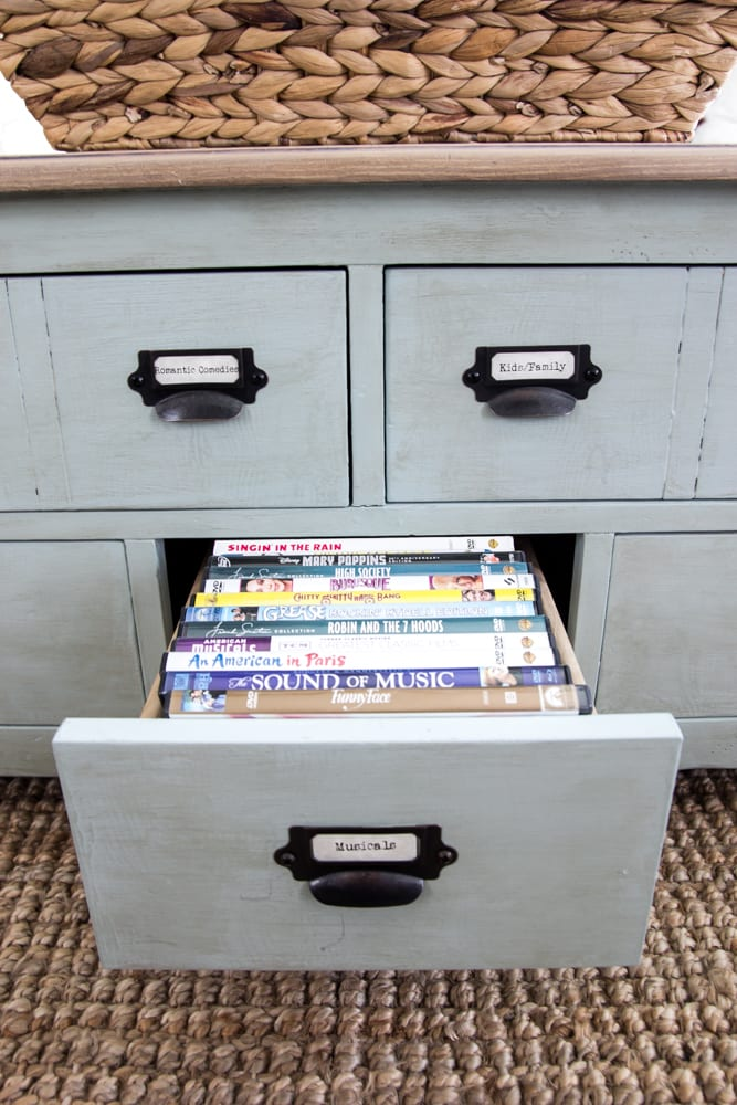 DIY Faux Planked Card Catalog Coffee Table | blesserhouse.com