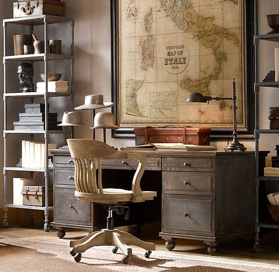 Masculine Restoration Hardware Inspired Office