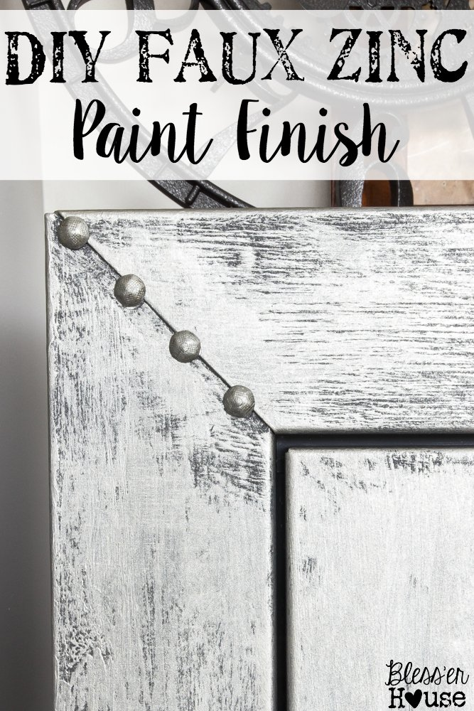 Faux Zinc Safe Makeover | blesserhouse.com - How to get a faux zinc finish using paint!