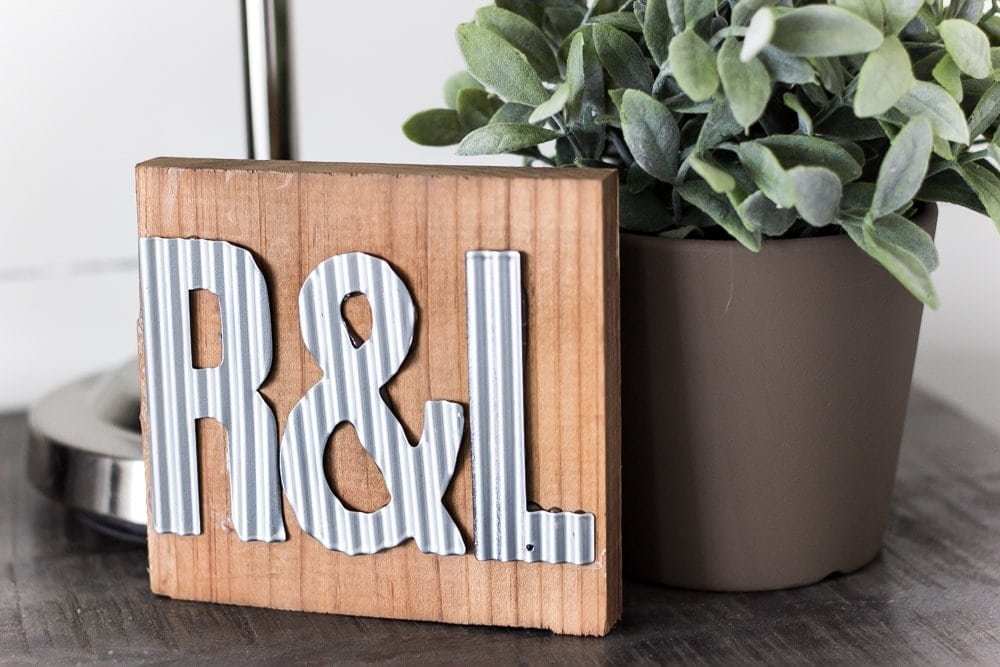 DIY Metal Industrial Initial Sign | blesserhouse.com - Cute and inexpensive DIY gift for a wedding or anniversary!