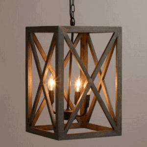 Nice Gray Wood And Iron Chandelier