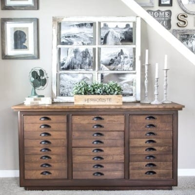 Antique Printer's Cabinet Makeover
