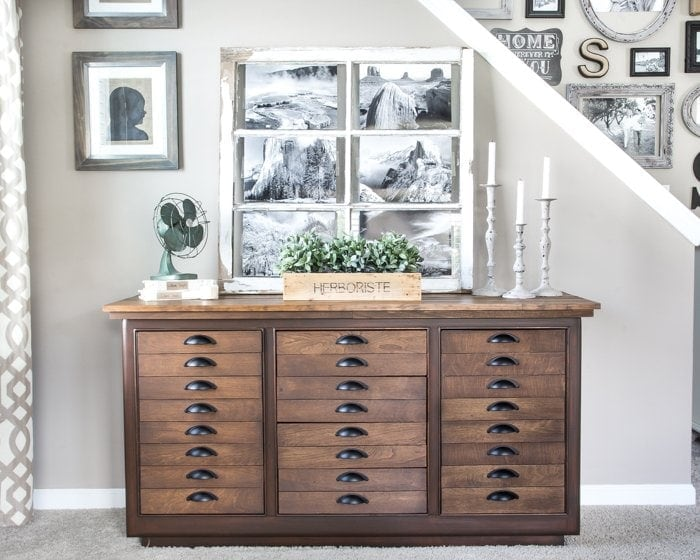 Antique Printer's Cabinet Makeover | blesserhouse.com - Cool way to give a Pottery Barn look to a plain buffet!