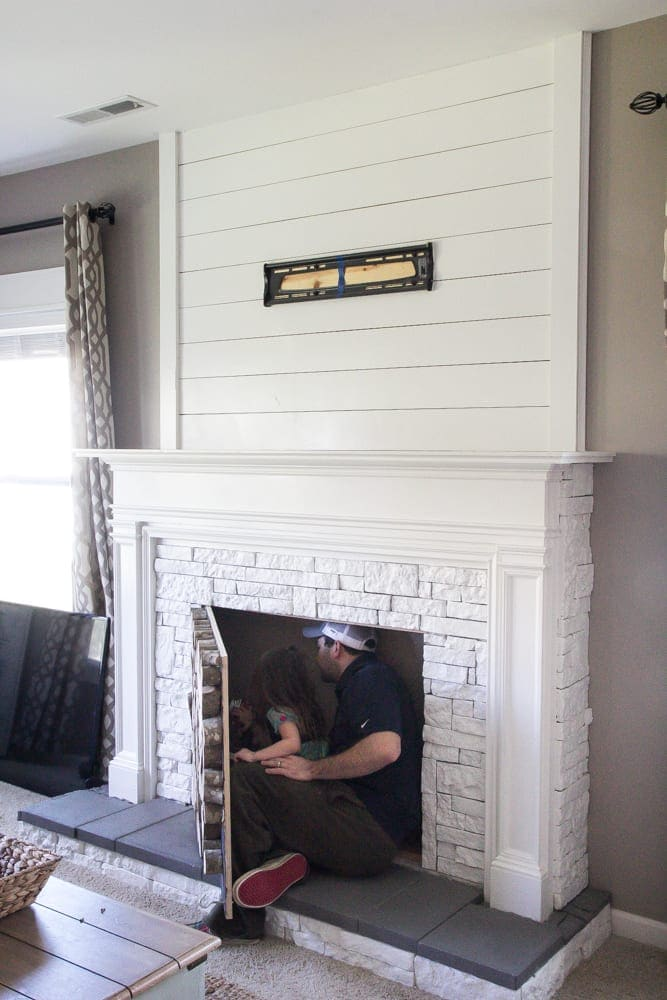 DIY Faux Fireplace Updated | blesserhouse.com - This fireplace looks so real and it cost about $600 to build!