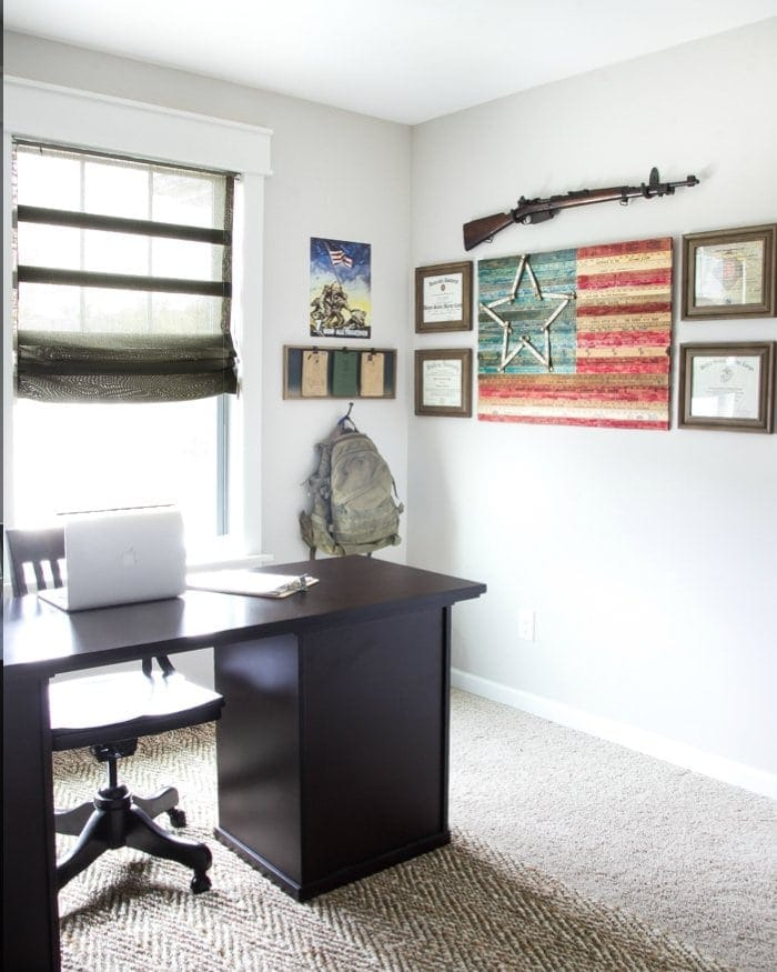 DIY Yardstick American Flag Wall Art   blesserhouse.com - This is so easy! Love the vintage Americana look!