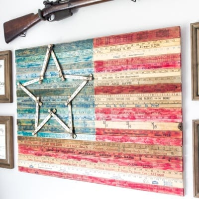 DIY Yardstick American Flag Wall Art (Thrifty Under Fifty)