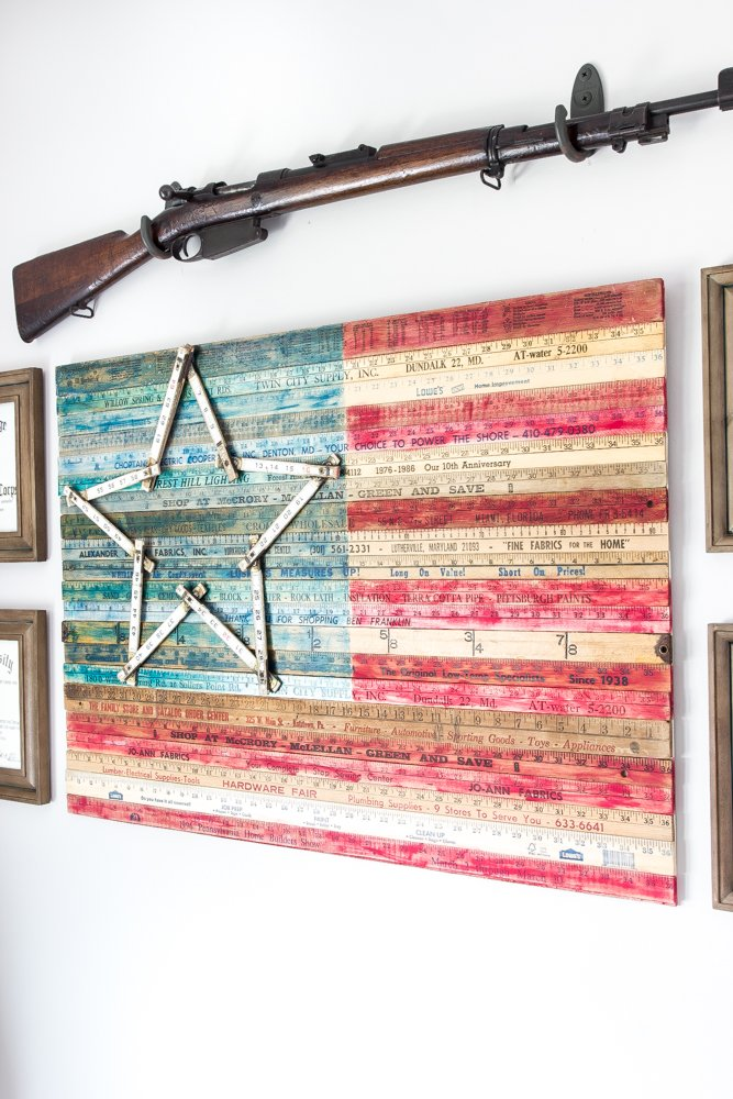 Vintage American Flag Wall Art diy yardstick american flag wall art (thrifty under fifty) - bless