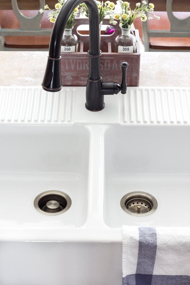 Kitchen Makeover Progress Beginnings | blesserhouse.com - How to installed an Ikea farmhouse (Domsjo) sink into an existing formica countertop.