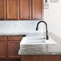 DIY Feather Finish Concrete Countertops