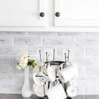 DIY Whitewashed Faux Brick Backsplash