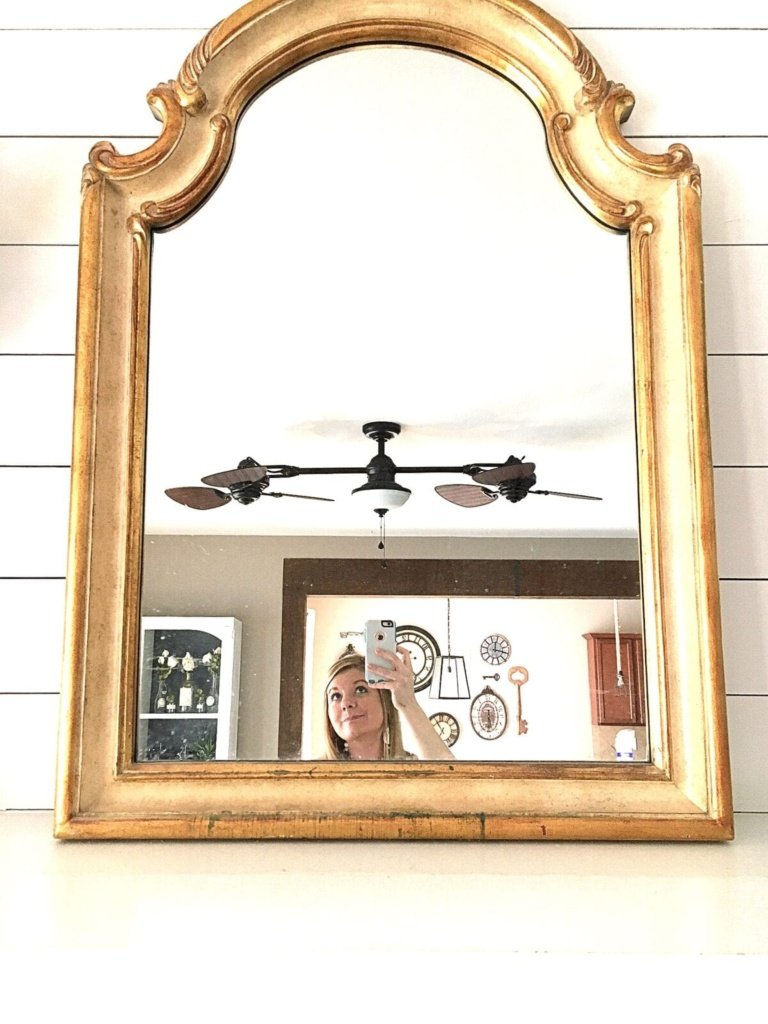 Distressed Charcoal Scroll Mirror Makeover   blesserhouse.com - How to distress non-wood materials without sanding using Vaseline. This is smart!