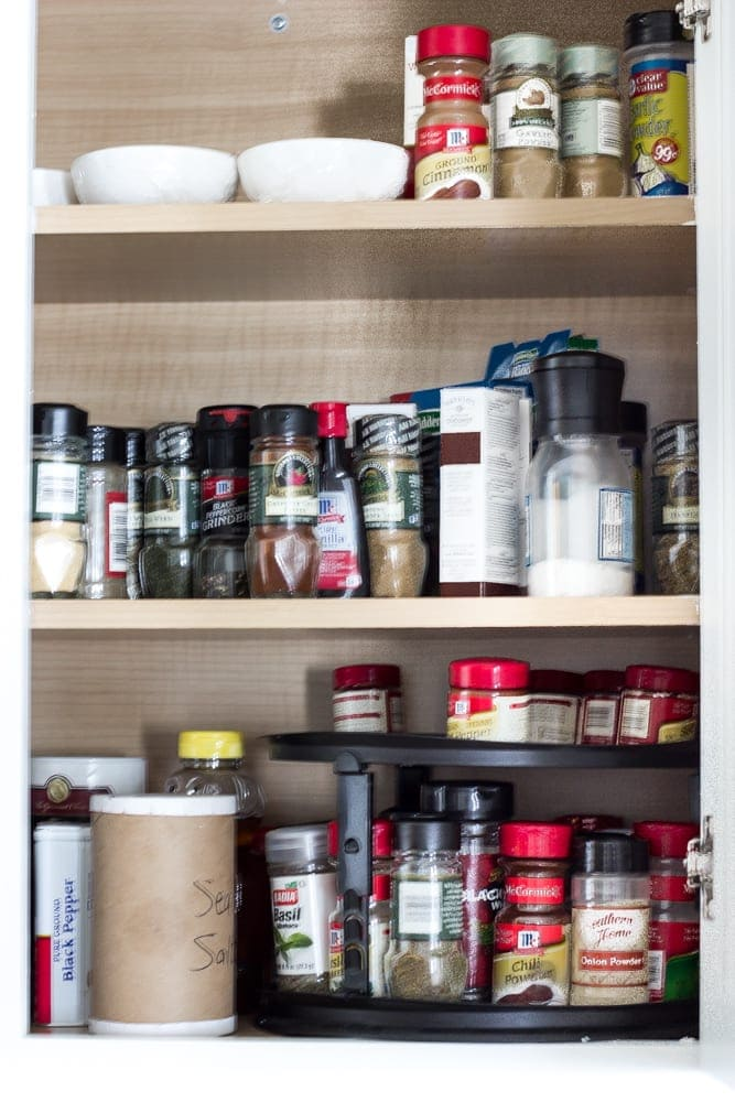 Dollar Store Spice Organization and Printable Labels | blesserhouse.com - How to organize a spice drawer with items from the dollar store.