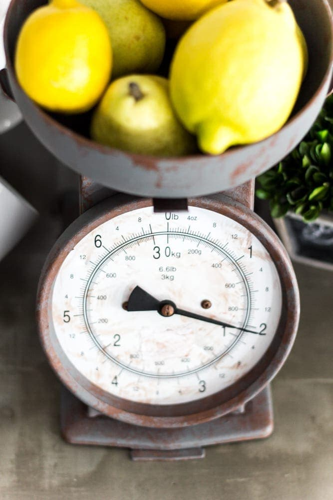 Faux Rusted Vintage Scale Makeover | blesserhouse.com - How to create a faux rust finish with paint on a steel kitchen scale.
