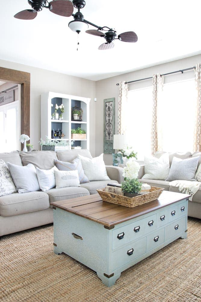 A beautifully organized living room just a girl and her blog for Living room organization furniture