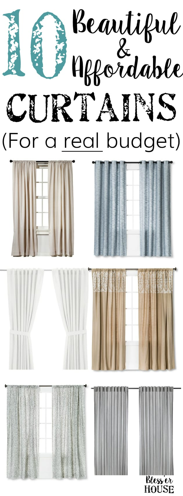 10 Beautiful and Affordable Curtains for a Real Budget | blesserhouse.com - 10 extra long curtains for under $40